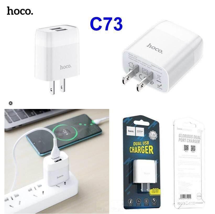 Cóc sạc nhanh Hoco C73 2 cổng USB 2.4A, nhựa ABS, tương thích nhiều thiết bị