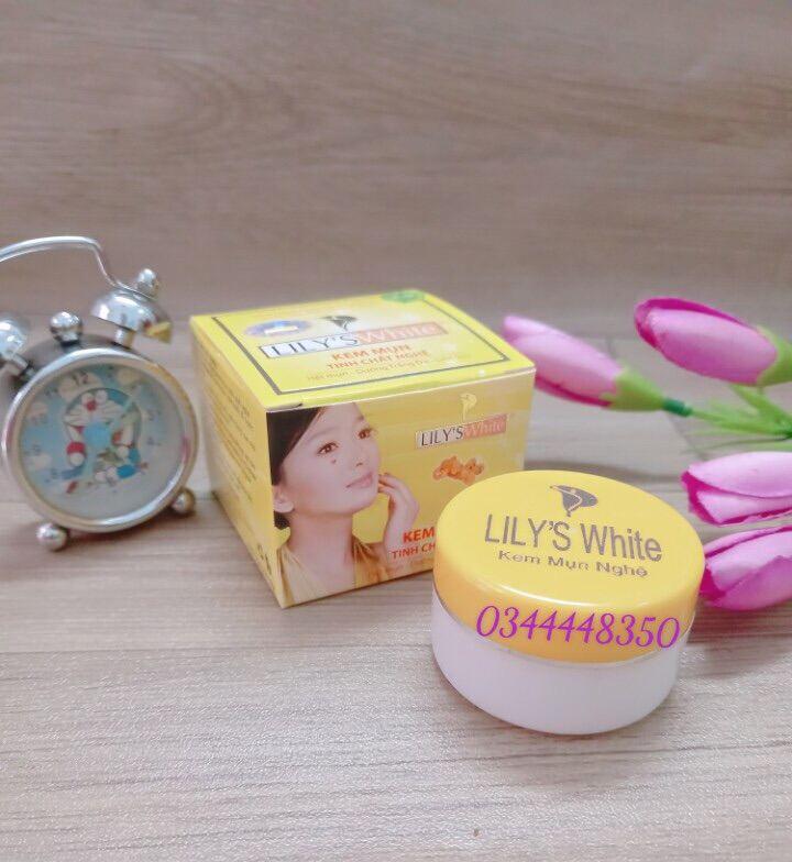 [HCM]Kem mụn trắng da xóa thâm liền sẹo tinh chất nghệ Lily's White 8g chính hãng