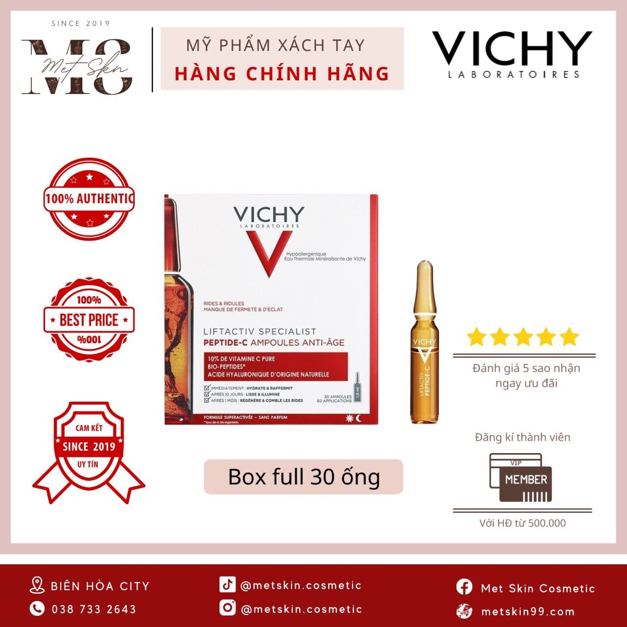 [ Trả Order ] Vichy Peptide C Ampoule Anti Age ( full box - tách set )