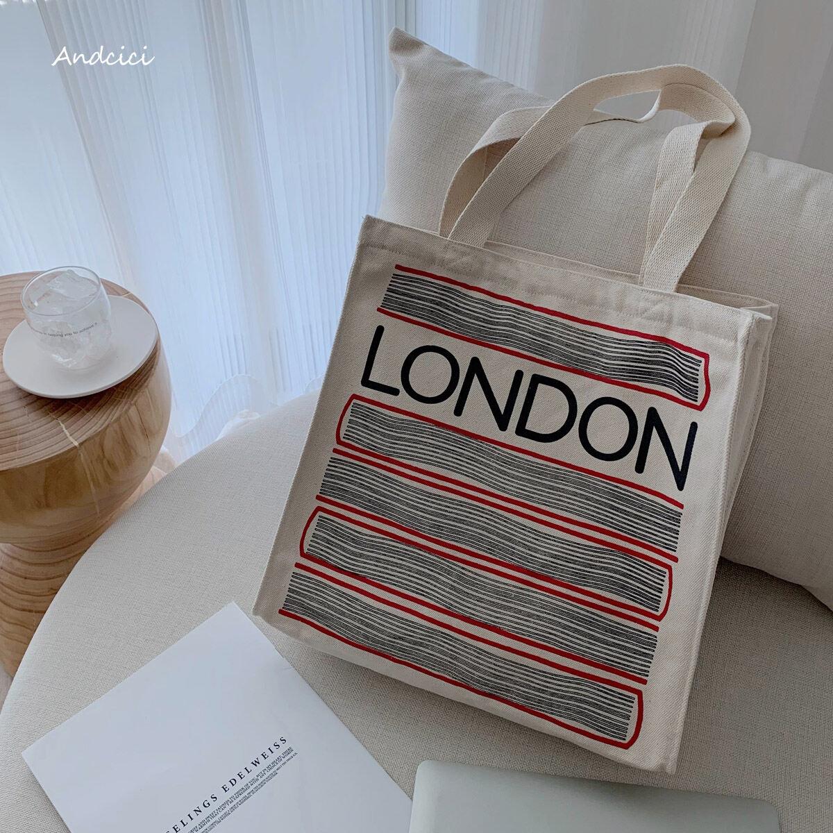 Andcici Phục Cổ Cửa Hàng Sách London Túi Vải Bố Kiểu Một Quai Túi Tote Lớn Dây Khóa Túi Mua Sắm Nam Nữ Học Sinh Cặp Sách thumbnail