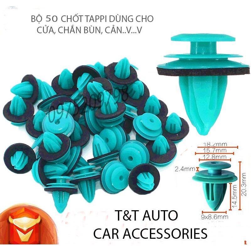 Bộ 50 chốt tappi, đinh tán nhựa chất lượng cao dùng cho ô tô.