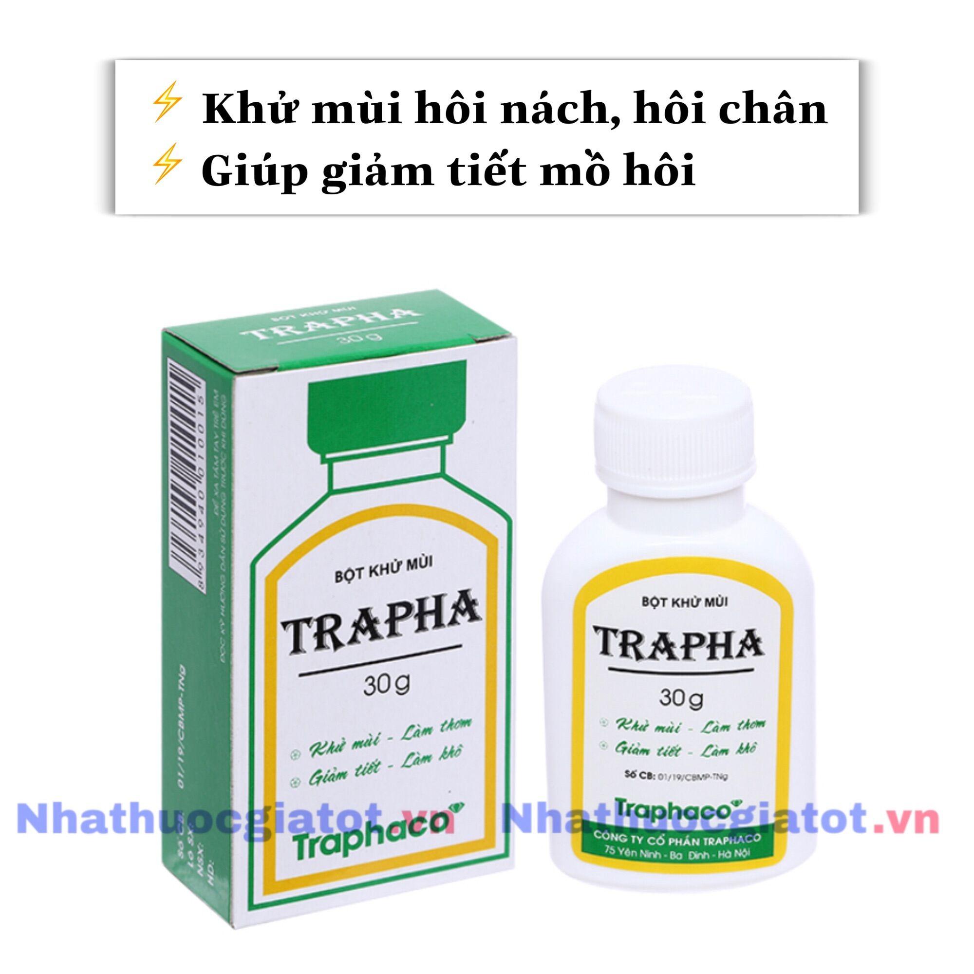 Bột Khử Mùi TRAPHA (Dược TRAPHACO) Giúp Khử Mùi Và Giảm Tiết Mồ Hôi, Tiện Dụng Cho Người Bị Hôi Chân, Hôi Nách