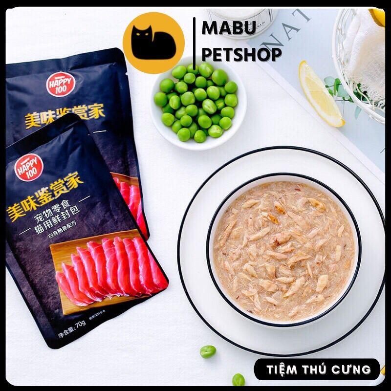 Pate mèo Wanpy Happy 100 thức ăn cho mèo gói 70g - Phiên bản Hảo Hạng gói đen sang trọng