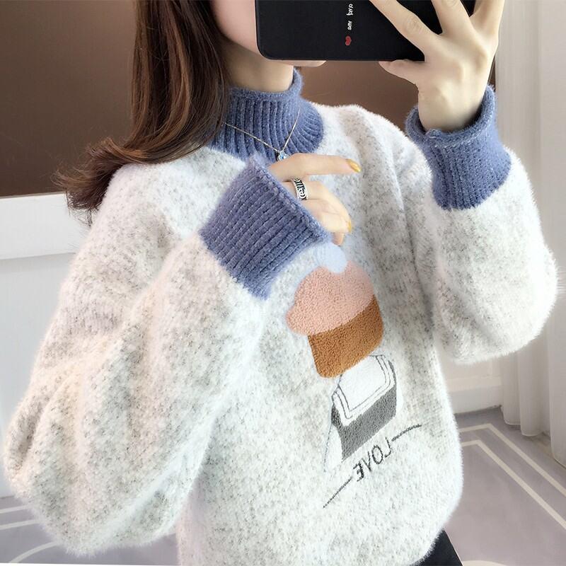 Vải Nhung Áo Len Dáng Suông Rộng Cổ Lửng 2021 Năm Thu Đông Mẫu Mới Nữ Nhiều Kiểu Phối Đồ Chui Đầu Học Sinh Dệt Kim Áo Phông Mặc Bên Trong thumbnail