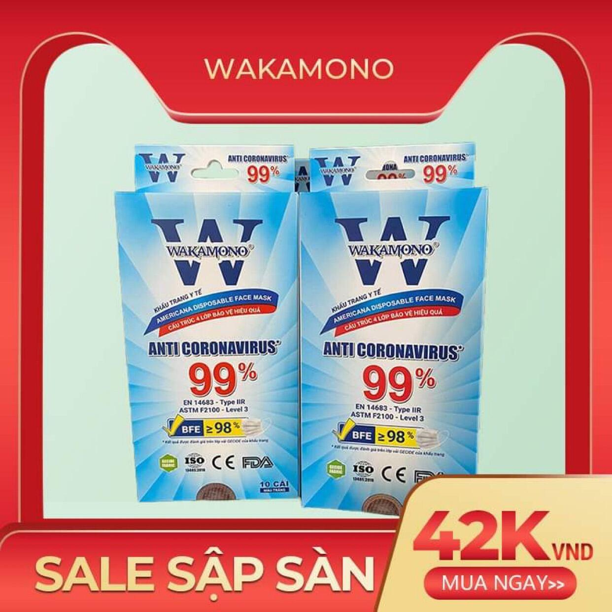 [Siêu rẻ]Khẩu trang y tế Wakamono (cam kết chính hãng, tem mác đầy đủ, hình thật)