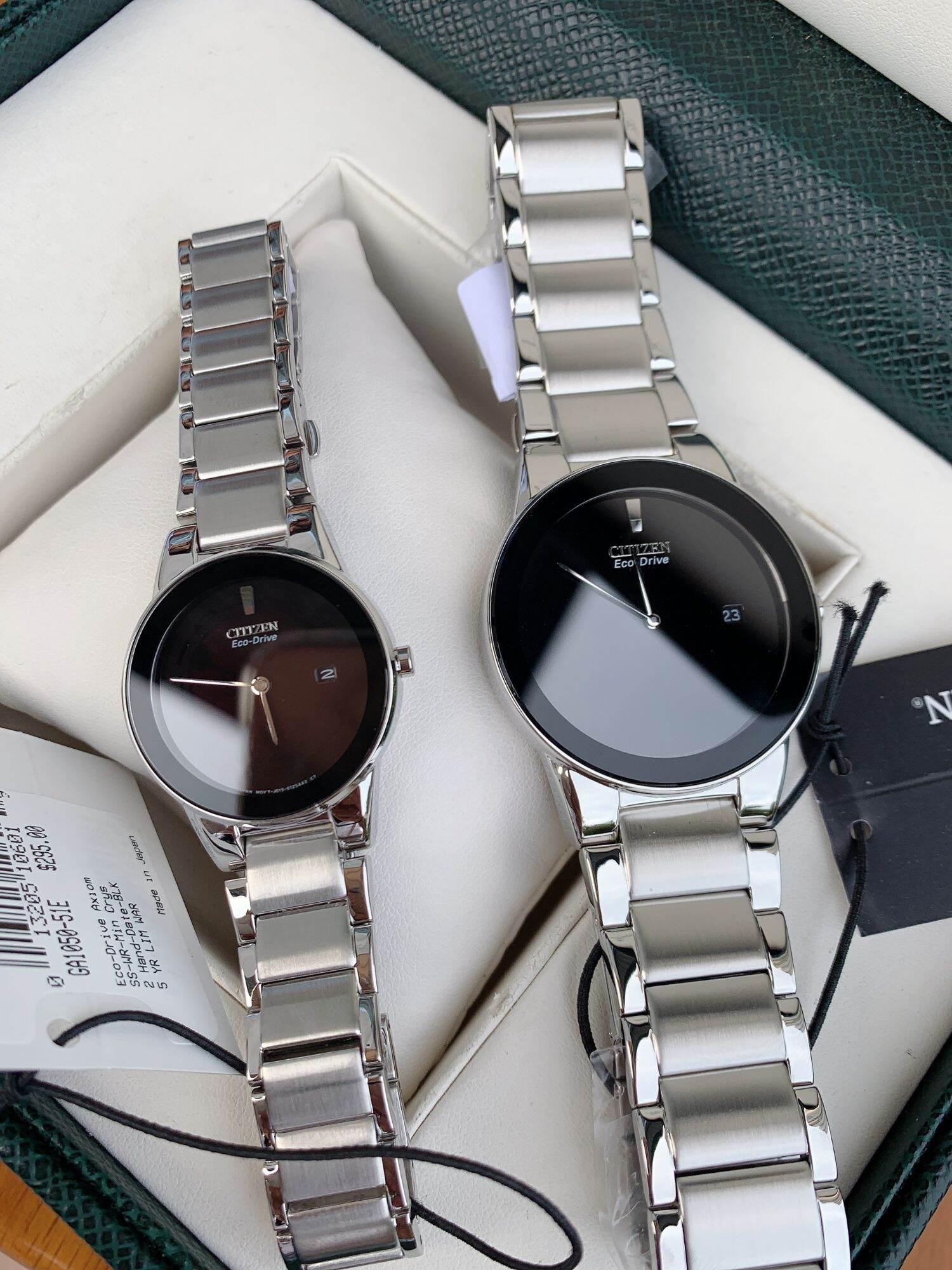 Đồng hồ Cặp Đôi Citizen Eco Drive Dial Black AU1060-51E & GA1050-51E