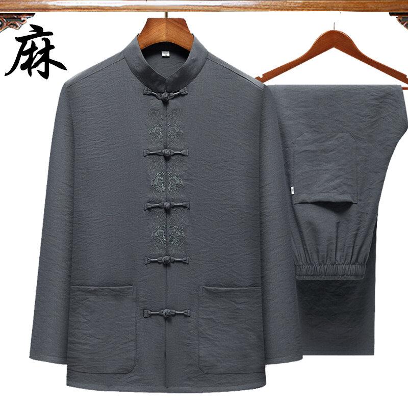 Bộ Đồ Đường Dài Tay Cotton Lanh Mẫu Mới Trang Phục Bố Phong Cách Trung Quốc Cho Nam Trung Niên Và Già Trang Phục Ông Nội Phong Cách Trung Quốc Thêu Thường Ngày