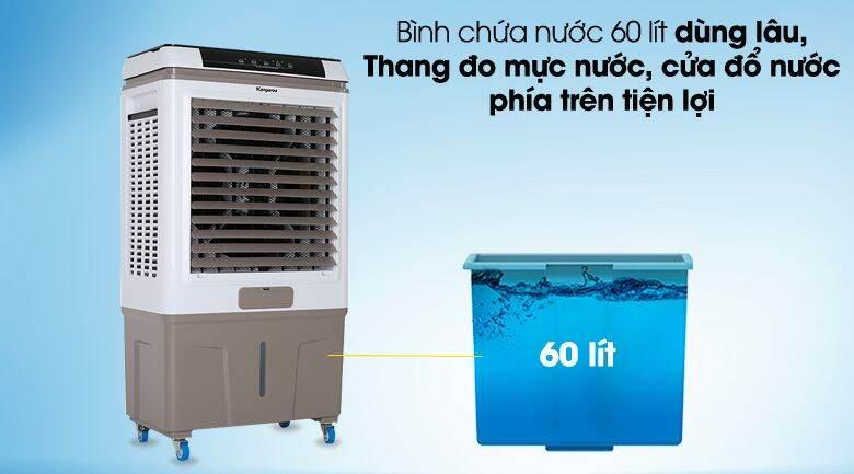 Quạt điều hòa Kangaroo KG50F79N_Phòng 30 - 40 m² Công suất:  165 W Tốc độ gió:  3 mức gió Chế độ gió:  Gió thường Điều khiển:  Cảm ứng có màn hình hiển thị Độ ồn cao nhất:  62 dB Bình nước:  60 lít Mức tiêu thụ nước: