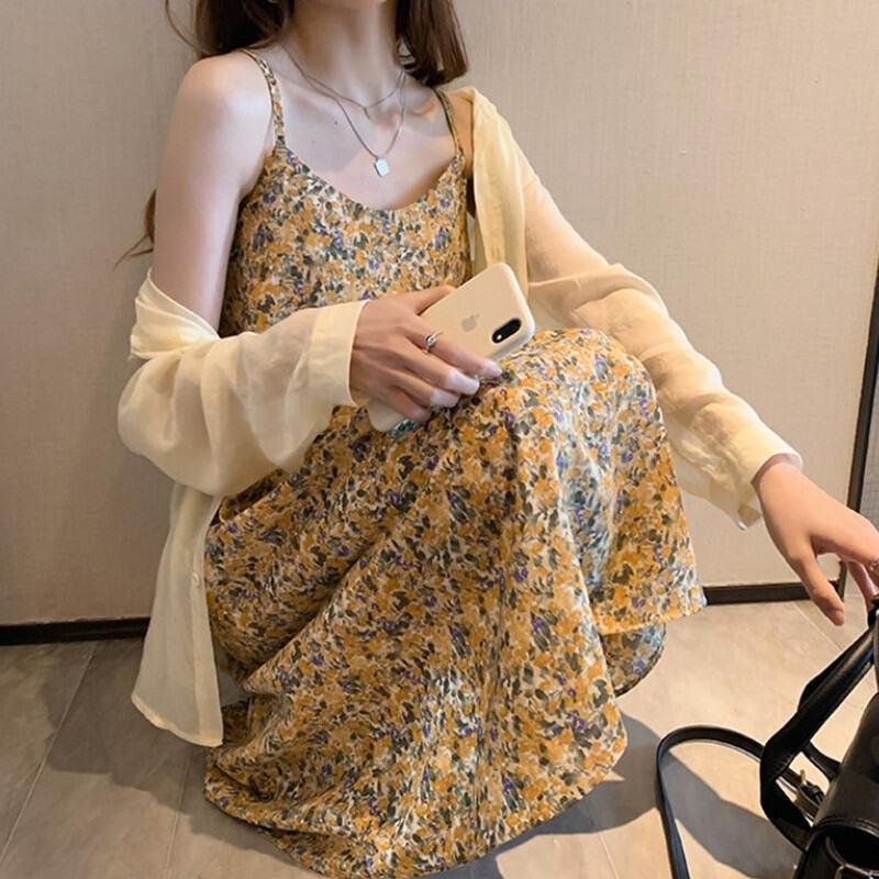 Big Size Quần Áo Nữ Dáng Suông Rộng Bao Gồm Vải Chiffon Hoa Nhỏ Hai Dây Váy Liền Nữ Mùa Hè Mẫu Mới Phục Cổ Giống Nàng Tiên Áo Lót Váy Dài thumbnail