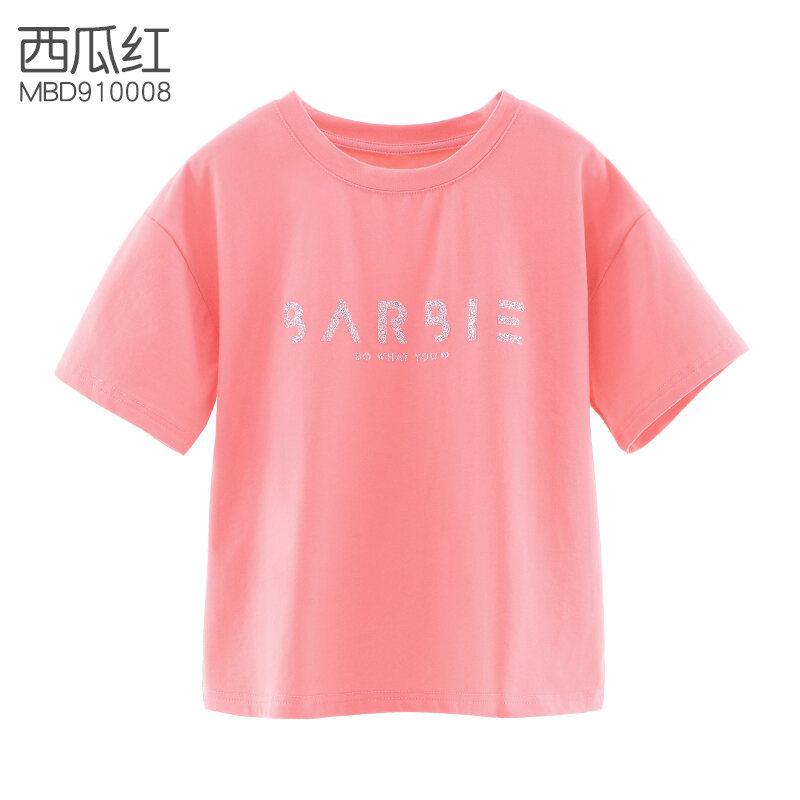 Barbie Bé Gái Ngắn Tay Áo Phông Trẻ Em Trang Phục Mùa Hè 2021 Mẫu Mới Phong Cách Tây Loại Mỏng Học Sinh Tiểu Học Dáng Suông Rộng Trắng Áo Phông Mặc Bên Trong thumbnail