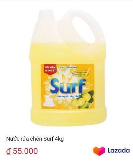 3568 lượt xem   Nước rửa chén Surf 4kg   https://s.lazada.vn/s.YX6Hp