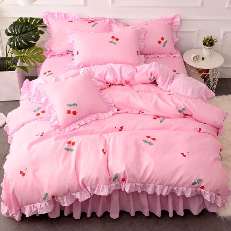Ins Kiểu Hàn Quốc Lá Sen Diềm Hoa Ga Giường Bộ Bốn Chiếc 100% Cotton Công Chúa Công Chúa Vỏ Chăn Thiếu Nữ Trái Tim SắC Xanh Thiên Nhiên Trên Giường Cung Cấp thumbnail