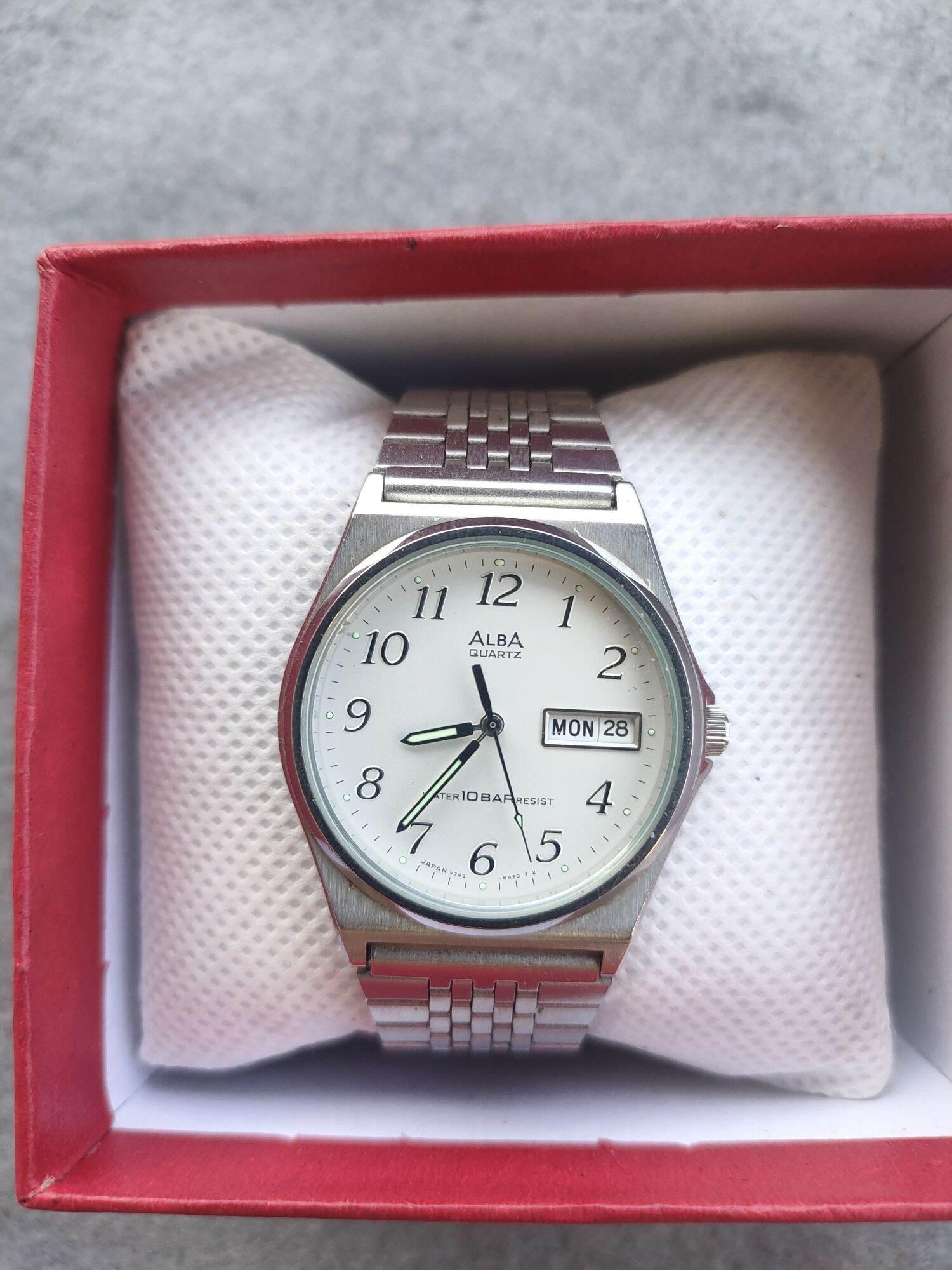 Đồng hồ alba seiko japan, size mặt 37mm, dây zin thép ko rỉ, hình thức 98%