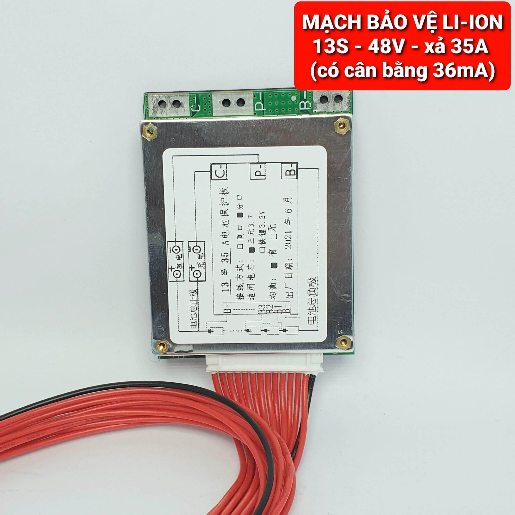 Mua MẠCH BẢO VỆ PIN 13S - 48V- XẢ 35A có cân bằng 36mA - Hệ pin 3.7V