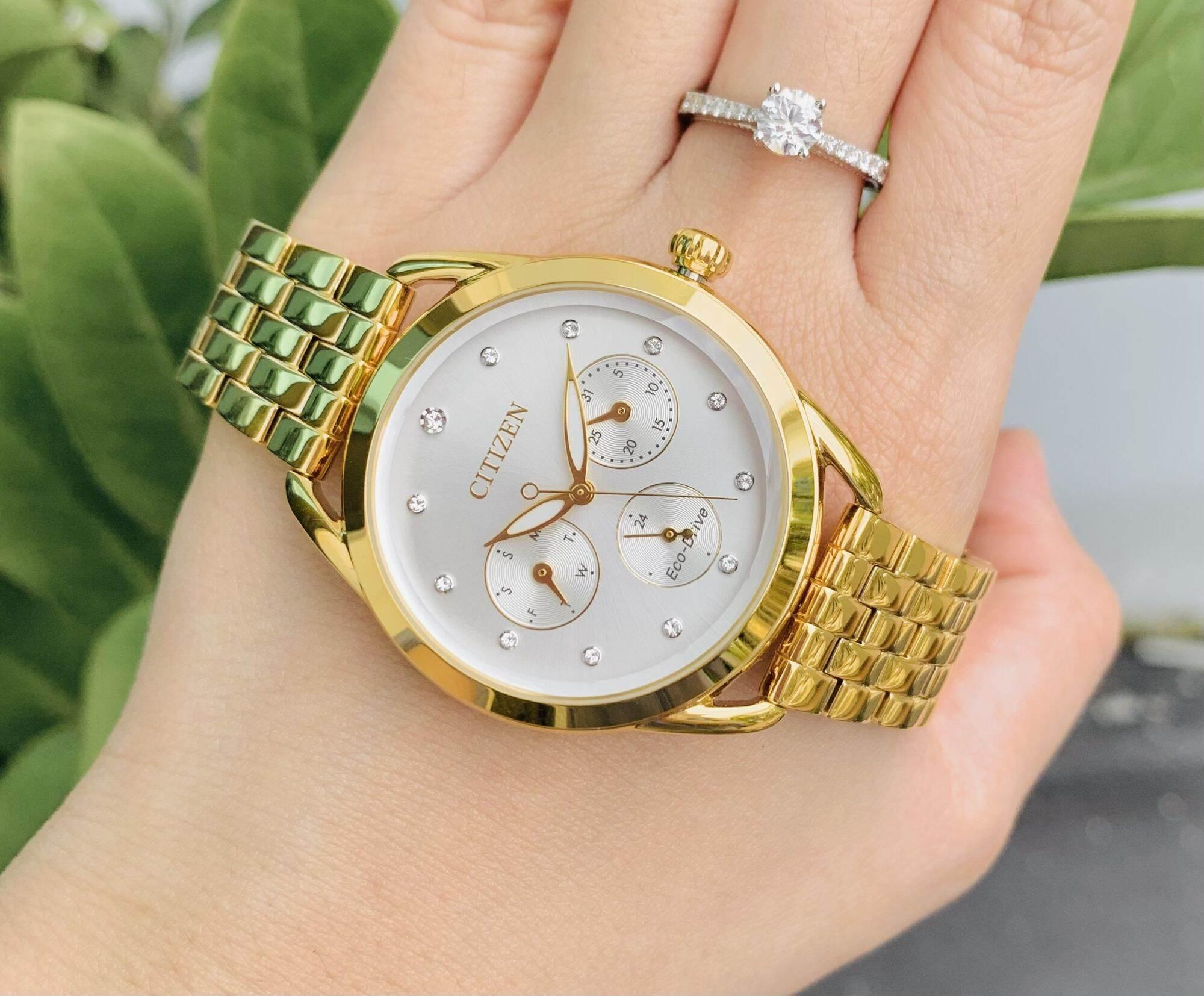 [HCM]Đồng hồ thời trang nữ Citizen FD2052-58A nữ cực xinh & sang trọng với cọc số đính kim cương