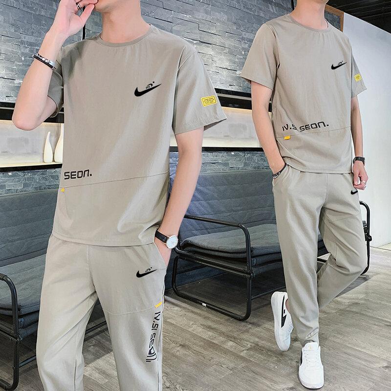 Nike Thủy Triều Thông Dụng Vận Động Nhanh Khô Bộ Mùa Hè Nam Tay Ngắn Vải Viscose Big Size Một Bộ Phối Hợp Đồ Nam Áo Cho Bố thumbnail
