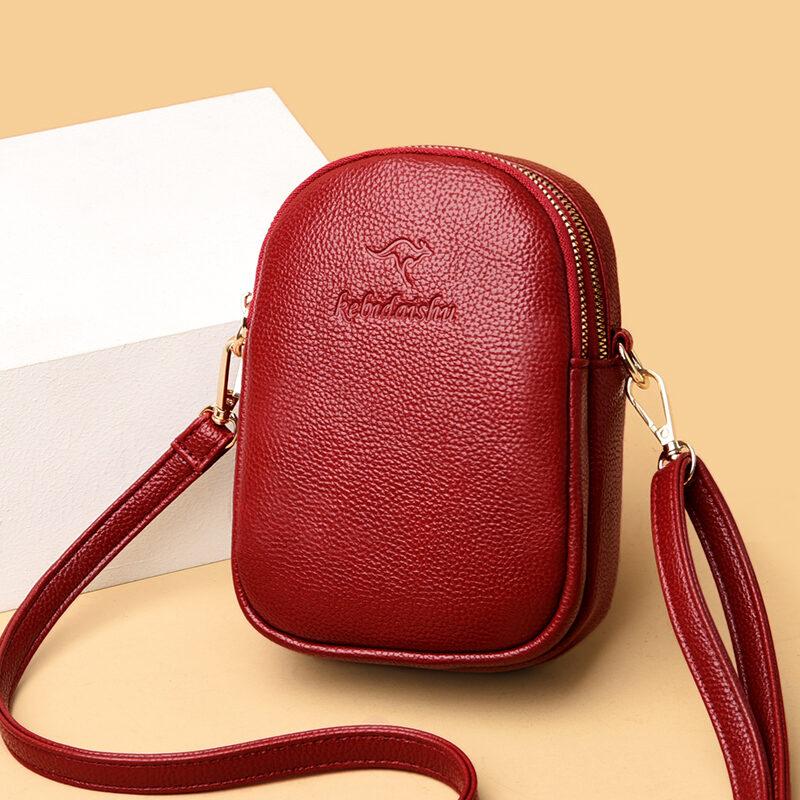 Túi mini, túi nữ, túi đựng điện thoại di động da thật kiểu mới mùa hè 2020, ví đựng tiền kiểu dọc, túi đựng chìa khóa, túi nhỏ đeo chéo da bò thumbnail